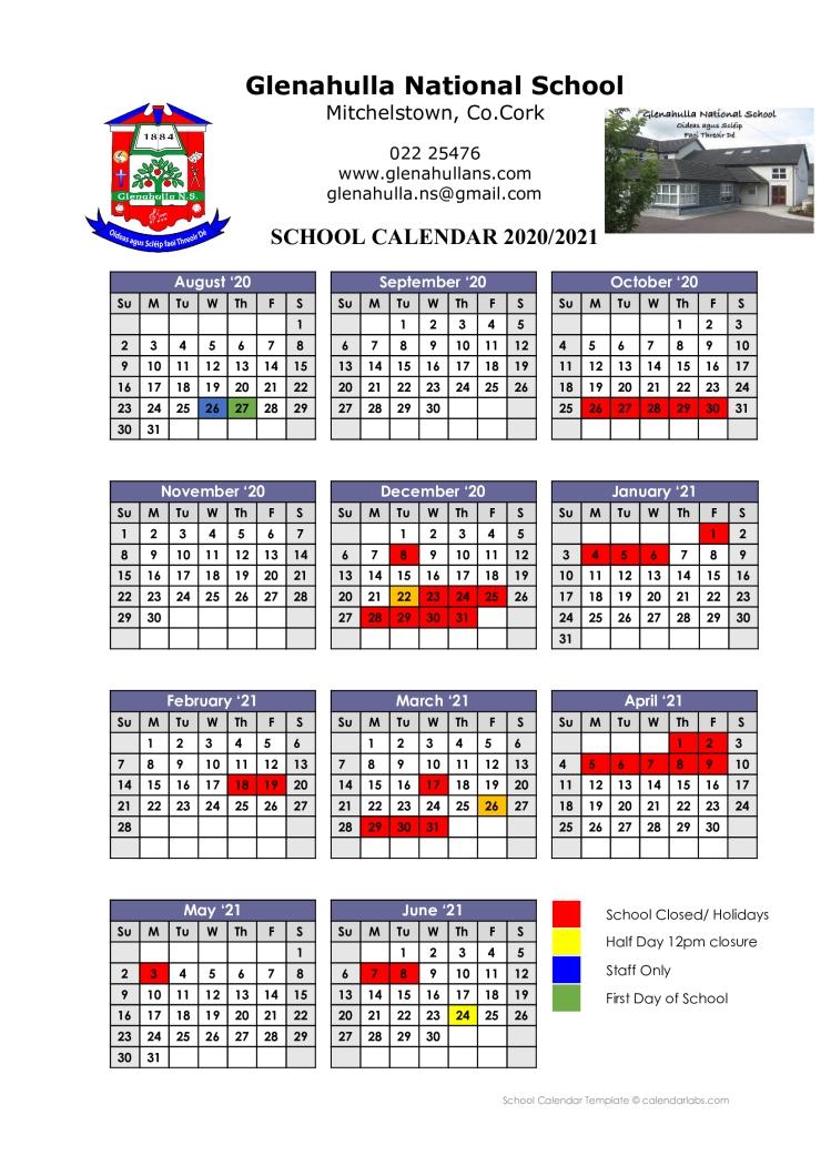 School Calendar 20-21